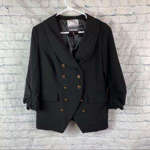 Kensie Black Ruched Sleeve Blazer